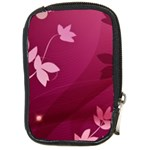 Pink Flower Art Compact Camera Leather Case