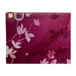 Pink Flower Art Cosmetic Bag (XL)