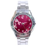 Pink Flower Art Stainless Steel Analogue Watch