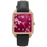 Pink Flower Art Rose Gold Leather Watch
