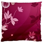 Pink Flower Art Large Flano Cushion Case (One Side)