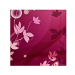 Pink Flower Art Small Satin Scarf (Square)