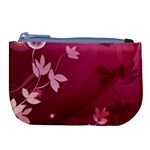 Pink Flower Art Large Coin Purse