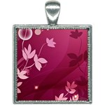 Pink Flower Art Square Necklace