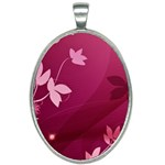 Pink Flower Art Oval Necklace