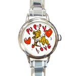 Puppy Love Round Italian Charm Watch