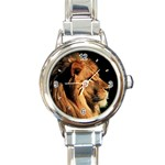 Elegant Lion Round Italian Charm Watch