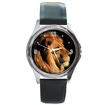 Elegant Lion Round Metal Watch