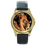 Elegant Lion Round Gold Metal Watch