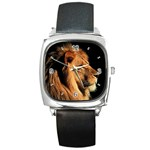 Elegant Lion Square Metal Watch