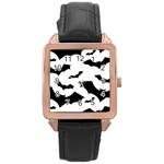 Deathrock Bats Rose Gold Leather Watch