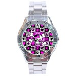 Emo Scene Girl Skull Stainless Steel Analogue Watch