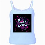 Girly Skull & Crossbones Baby Blue Spaghetti Tank