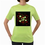 Girly Skull & Crossbones Women s Green T-Shirt