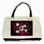 Girly Skull & Crossbones Basic Tote Bag
