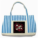 Girly Skull & Crossbones Striped Blue Tote Bag