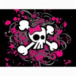 Girly Skull & Crossbones Canvas 12  x 16