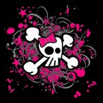 Girly Skull & Crossbones Canvas 16  x 16