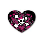 Girly Skull & Crossbones Rubber Heart Coaster (4 pack)