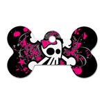 Girly Skull & Crossbones Dog Tag Bone (One Side)