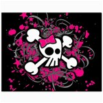 Girly Skull & Crossbones Canvas 11  x 14