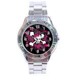 Girly Skull & Crossbones Stainless Steel Analogue Watch