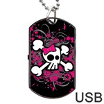 Girly Skull & Crossbones Dog Tag USB Flash (One Side)