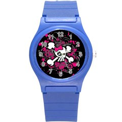 Girly Skull & Crossbones Round Plastic Sport Watch (S) from ArtsNow.com Front