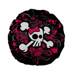 Girly Skull & Crossbones Standard 15  Premium Round Cushion