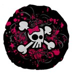 Girly Skull & Crossbones Large 18  Premium Round Cushion