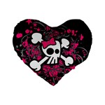 Girly Skull & Crossbones Standard 16  Premium Heart Shape Cushion