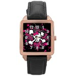 Girly Skull & Crossbones Rose Gold Leather Watch