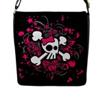 Girly Skull & Crossbones Flap Closure Messenger Bag (L)