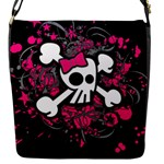 Girly Skull & Crossbones Flap Closure Messenger Bag (S)