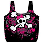 Girly Skull & Crossbones Full Print Recycle Bag (XL)