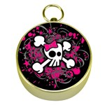 Girly Skull & Crossbones Gold Compass