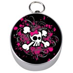 Girly Skull & Crossbones Silver Compass