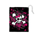 Girly Skull & Crossbones Drawstring Pouch (Medium)