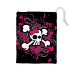 Girly Skull & Crossbones Drawstring Pouch (Large)