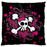 Girly Skull & Crossbones Large Flano Cushion Case (One Side)