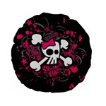 Girly Skull & Crossbones Standard 15  Premium Flano Round Cushion