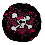 Girly Skull & Crossbones Large 18  Premium Flano Round Cushion