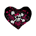 Girly Skull & Crossbones Standard 16  Premium Flano Heart Shape Cushion