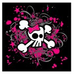 Girly Skull & Crossbones Large Satin Scarf (Square)