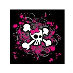 Girly Skull & Crossbones Small Satin Scarf (Square)