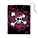 Girly Skull & Crossbones Drawstring Pouch (XL)