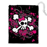 Girly Skull & Crossbones Drawstring Pouch (XXL)