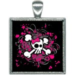 Girly Skull & Crossbones Square Necklace