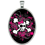 Girly Skull & Crossbones Oval Necklace
