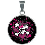 Girly Skull & Crossbones 25mm Round Necklace